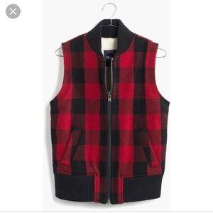 Madewell Buffalo Check Shearling Vest